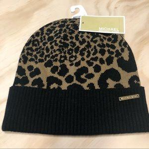 NWT Michael Kors Animal Print Beanie Hat